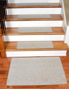 """Dean Carpet Stair Treads 27"""" x 9"""" Fresco Beige Plush (13) plus 2' x 3' Mat"""