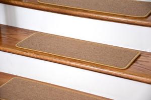 "Dean DIY Peel and Stick Serged Non-Skid Carpet Stair Treads - Golden Camel (13) 27"" x 9"" Runner Rugs"