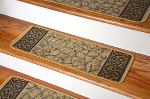 Dean Washable Non-Skid Carpet Stair Treads - Garden Path Gold and Brown (13)