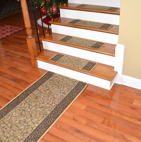 Dean Washable Non Skid Carpet Stair Treads   Garden Path Gold And Brown  (13) PLUS A Matching 5u0027 Runner