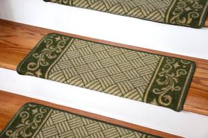Dean Modern DIY Bullnose Wraparound Non-Skid Carpet Stair Treads - Green Scroll Border