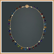 Faceted Multi-Gemstone Rounded Teardrop Single Strand Necklace