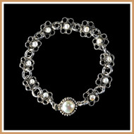 Sterling Silver and Pearl Flower Bracelet