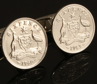 Australian Sixpence Coin Cufflinks Close Up