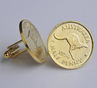 Gold Plated Halfpenny Coin Cufflinks