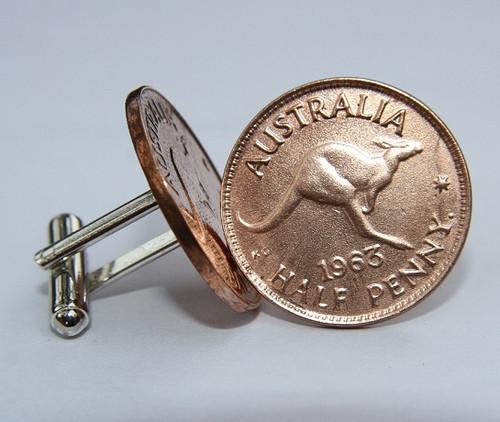 1961 birth year Australian-Halfpenny-Coin-Cufflinks-460-545