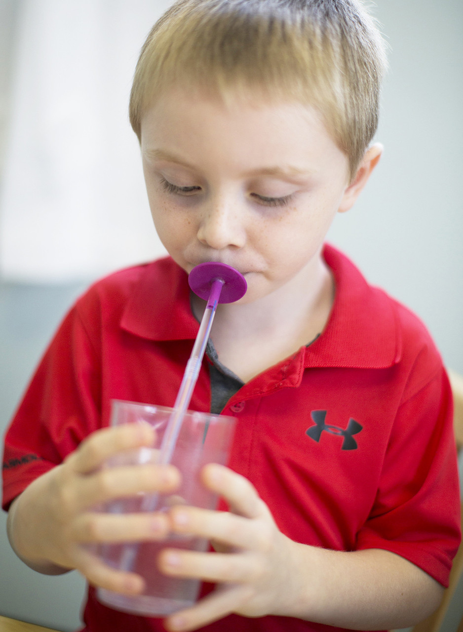 Get the most oral motor benefit out of straws by adding a Lip Blok