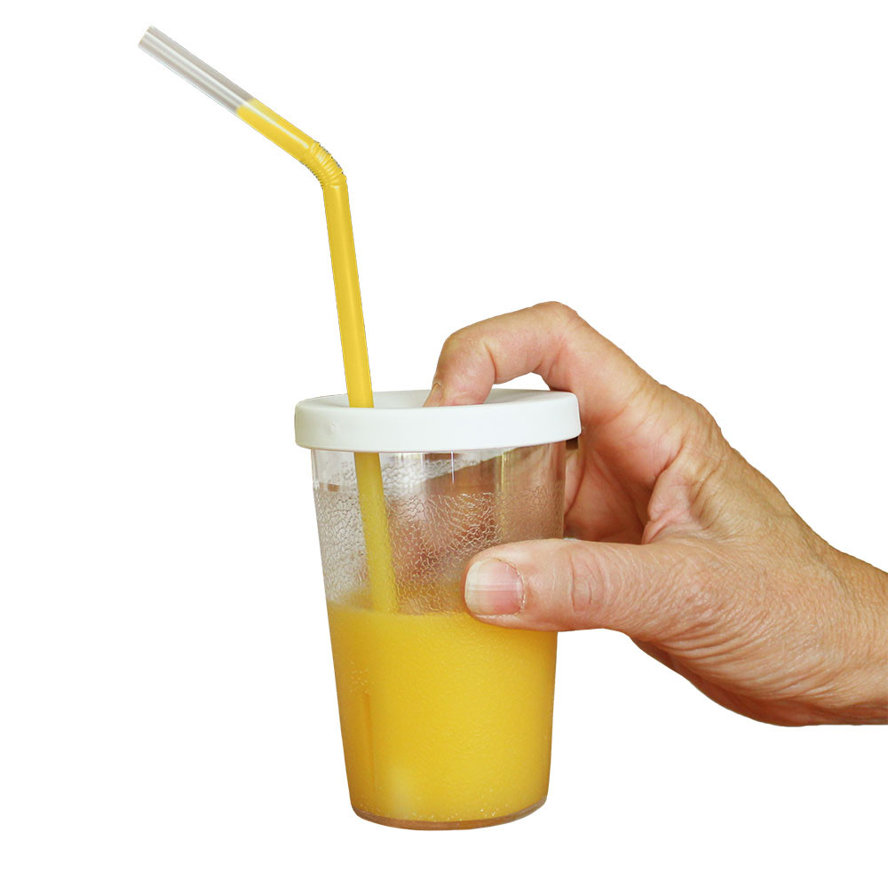 "Simply put your finger over the vent hole and pump to ""help"" liquid up the straw"