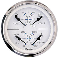 Faria Chesapeake SS White 4 Multifunction 4 in 1 Combination Gauge w/Fuel, Oil, Water  Volts