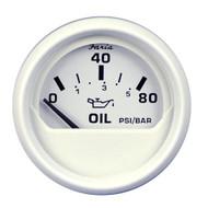 Faria Dress White 2 Oil Pressure Gauge - 80 PSI