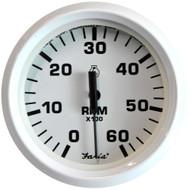 Faria Dress White 4 Tachometer - 6,000 RPM (Gas - Inboard & I/O)