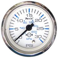 Faria Chesapeake White SS 2 Water Pressure Gauge Kit - 30 PSI