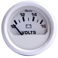 Faria Dress White 2 Voltmeter (10-16 VDC)