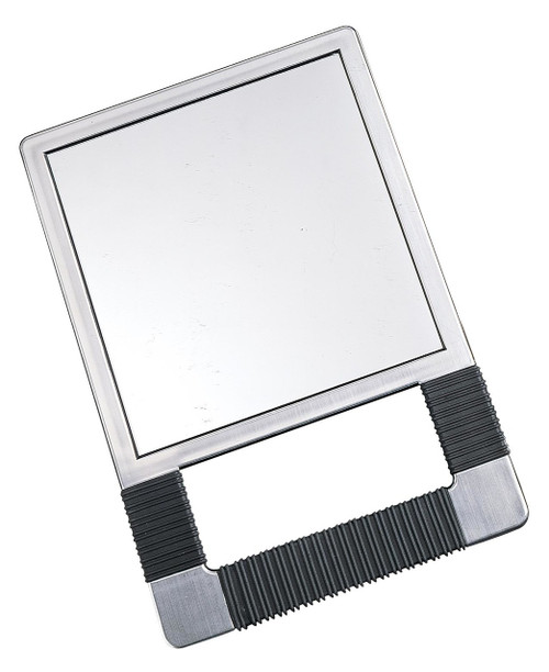 """•High tech styling •Brushed chrome finish • Ribbed rubber grip • Non-distorting mirror • 7"""" X 7"""""""