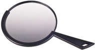 """• Stylish Hand Held Mirror • Convenient Hanging Hook • Lightweight and Useful • Black • 6.5"""" X 6.5"""" Viewing Area"""