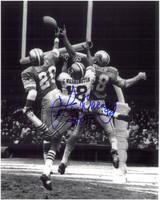 Lem Barney Autographed Detroit Lions 8x10 Photo #2 - Interception