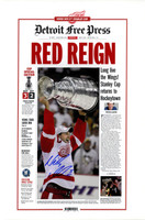 """Nicklas Lidstrom Autographed """"Red Reign"""" 2008 Stanley Cup Free Press Poster"""