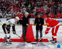"Gordie Howe and Ted Lindsay Autographed 16x20 Photo ""Puck Drop"""
