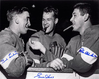 Gordie Howe, Ted Lindsay, and Alex Delvecchio Autographed 11x14 Photo w/ Cigars