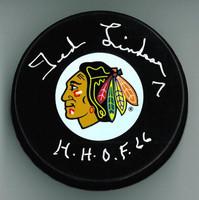 "Ted Lindsay Autographed Chicago Blackhawks Puck w/ ""HOF"""