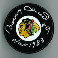 Bobby Hull Autographed & Inscribed Puck - Hawks or Jets