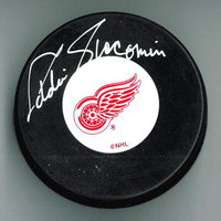 Eddie Giacomin Autographed Detroit Red Wings Puck