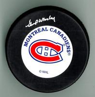 Gump Worsley Autographed Hockey Puck