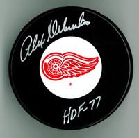 """Alex Delvecchio Autographed Red Wings Puck w/ """"HOF"""""""