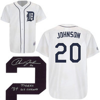 "Howard Johnson Autographed Detroit Tigers Jersey w/ ""84 Champs"" Inscription"