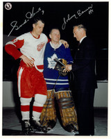 Gordie Howe and Johnny Bower Autographed 8x10 Photo #1 - All Star Game Interview