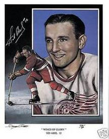 Sid Abel Autographed Detroit Red Wings 11x14 Lithograph