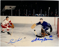 Gordie Howe and Johnny Bower Autographed 8x10 Photo #3 - Color Action