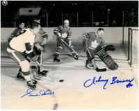 Gordie Howe and Johnny Bower Autographed 8x10 Photo #2 - Black & White Action