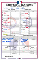 Michael Fulmer Game Used First Complete Game Shutout Line Up Card - Autographed and Inscribed