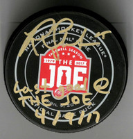 """Riley Sheahan Autographed Farewell to the Joe Official Game Puck Inscribed """"Last Goal At The Joe 4/9/17"""""""