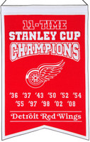 Detroit Red Wings 11-Time Stanley Cup Champions Wool Banner