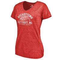 Detroit Red Wings Women's Fanatics Red Hometown Collection Hockeytown Tri-Blend V-Neck T-Shirt