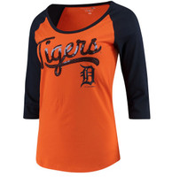 Detroit Tigers Women's 5th & Ocean Baby Jersey 3/4-Sleeve Raglan T-Shirt