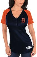 Detroit Tigers Women's Majestic League Diva Snap Placket T-Shirt