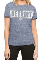 Detroit Tigers Women's 47 Brand Foil Stripe Blue T-shirt