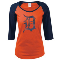 Detroit Tigers Women's 5th & Ocean Orange Raglan Studded Tshirt