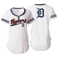 Detroit Tigers Women's 5th & Ocean Three Button White T-shirt