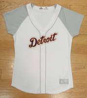 Detroit Tigers Women's Majestic White Fan Fashion Jersey With Grey Sleeves