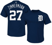 Detroit Tigers Men's Majestic Jordan Zimmerman Name & Number Player T-shirt