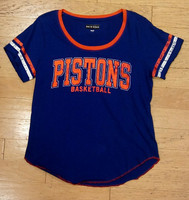 Detroit Pistons Women's 5th & Ocean Shimmer Foil Stripe T-Shirt