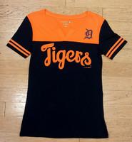 Detroit Tigers Women's 5th & Ocean Navy & Orange V-Notch T-Shirt