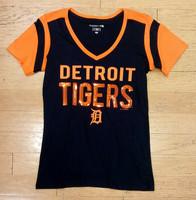 Detroit Tigers Women's 5th & Ocean Navy & Orange Sequins V-Neck T-Shirt