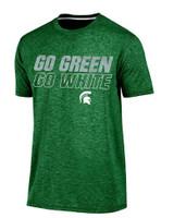 "Michigan State University Men's Champion ""Go Green Go White"" Textured/Outline Font T-shirt"