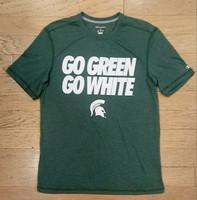 """Michigan State University Men's Champion """"Go Green Go White"""" White Textured Font T-shirt"""