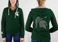 Michigan State University Women's e5 Rhinestone Full Zip Hoodie